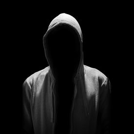 image of incognito  - Portrait of Invisible man in the hood isolated on black background - JPG