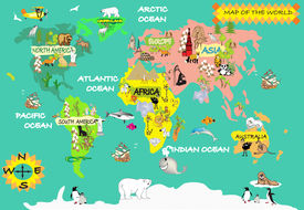 picture of wind-rose  - Kids world map with animals and objects - JPG