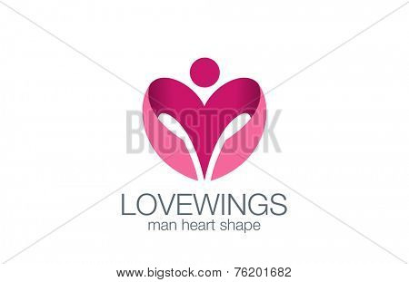 Man Wings as Heart shape Logo design vector template concept icon. in Love man logotype.