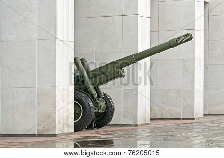 Gun Between The Columns Of The Museum Of The Great Patriotic War On Poklonnaya Hill