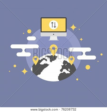 Worldwide Communication Flat Icon Illustration