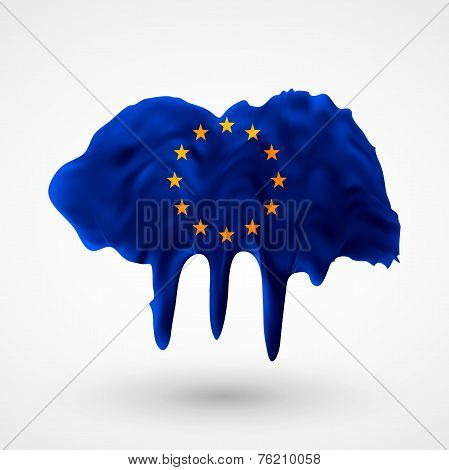European Union flag painted colors