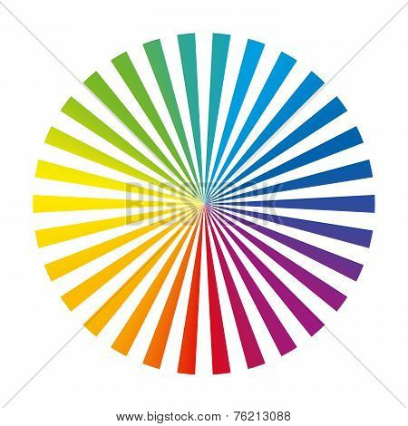Rainbow Color Wheel Ink Stripes White