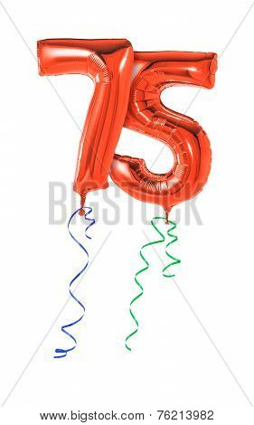 Red balloons with ribbon - Number 75