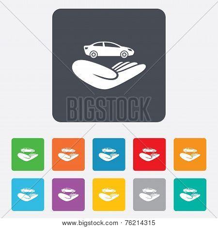 Car insurance sign. Hand holds transport.