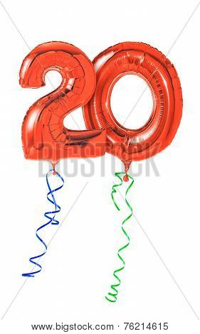 Red balloons with ribbon - Number 20