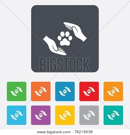 Protection of animals sign icon. Hands.