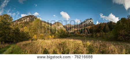 Wide Angle Panorama Of Autumnal Mountain Landscape