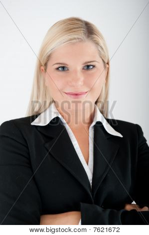 young beautiful office secretary in black suit