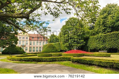 View On Abbots Palace And Flowers In Gdansk Oliva Park.