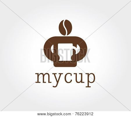 Abstract coffe bean logotype concept isolated on white background. Key ideas is business, coffe, bre