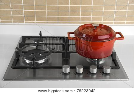 Red Pot on Stove