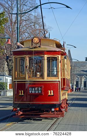 Vintage Tram On Worcester Boulevard Christchurch