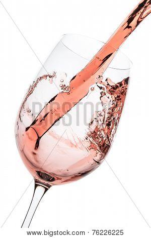 rose wine splashing on white background