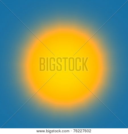 Glowing Light Bulb On Blue Background - Abstract Colorful Shining Circle - Bright Sky With Hazy Yell