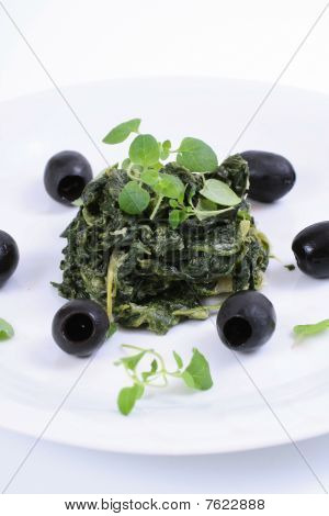 spinach with black olives