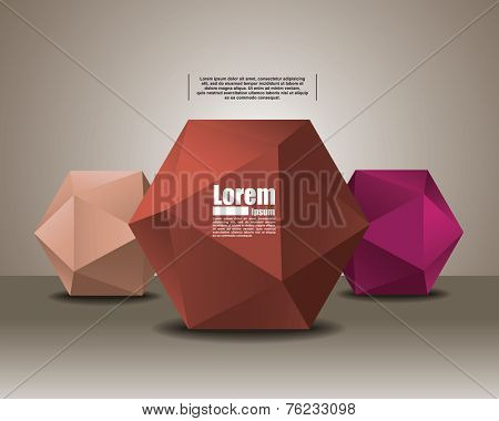 polyhedron for graphic design. banner for text