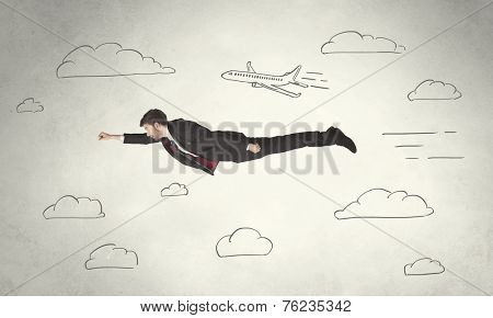 Cheerful business person flying between hand drawn sky clouds concept on background