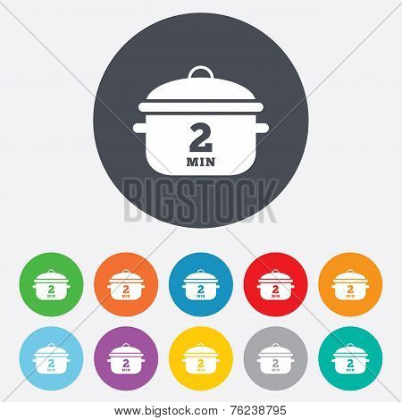 Boil 2 minutes. Cooking pan sign icon. Stew food