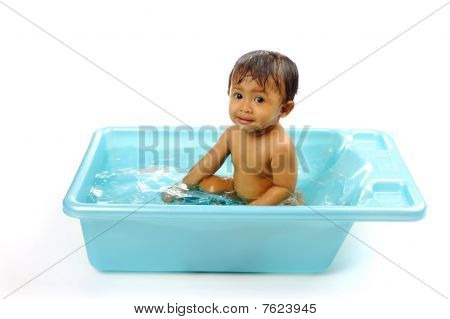 Baby Girl Take A Bath