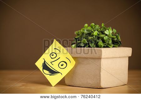 Drawn smiley face on a post-it note sticked on a flowerpot