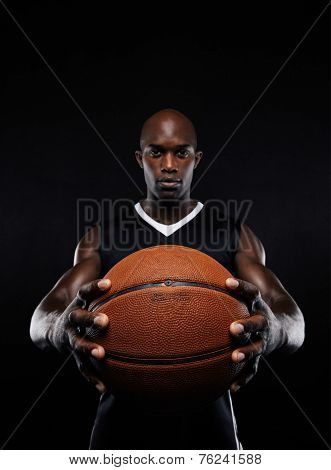 Professional African Basketball Player With A Ball
