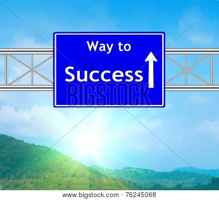 Success Blue Road Sign