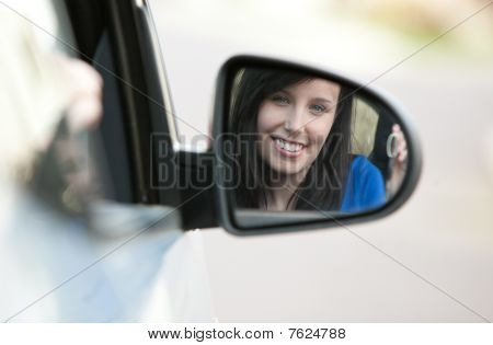 Attractive Teen Girl Sitting In Her Car Holding Keys