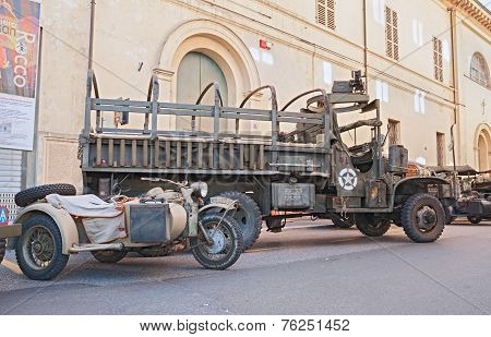 Old American Truck Armed With A Machine Gun