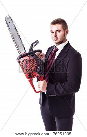 Businessman Holding A Red Chain Saw
