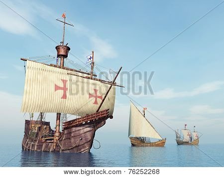 Santa Maria, Nina and Pinta of Christopher Columbus