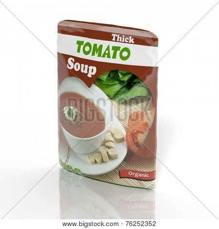 3D Tomato Soup packet isolated on white