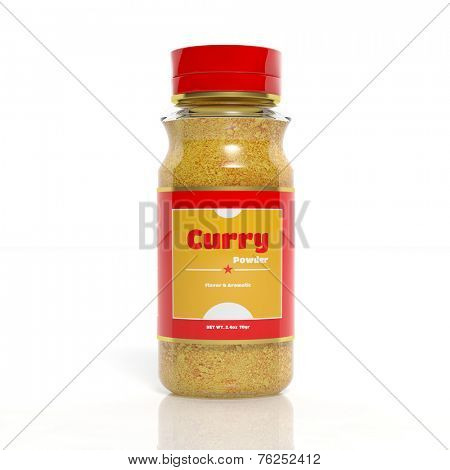 3D Curry powder glass bottle isolated on white