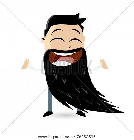 funny cartoon man with a big beard