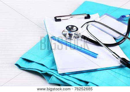 Medical supplies on table