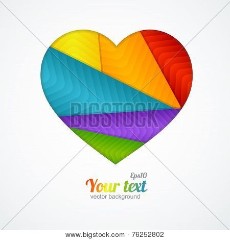 Vector card Heart label with lgbt flag.