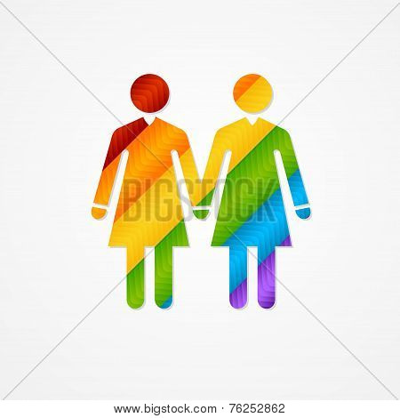Sign of couple women. LGBT card