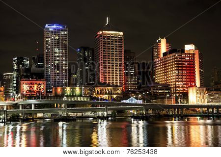 Brisbane Cityscape coloured by night