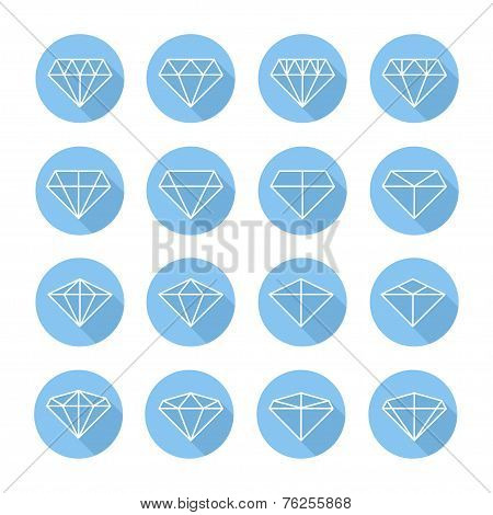 Set of diamond web icons,symbol,sign in flat style. Diamonds collection. Elements for design. Vector