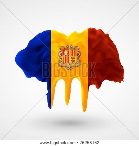 Flag of Andorra painted colors