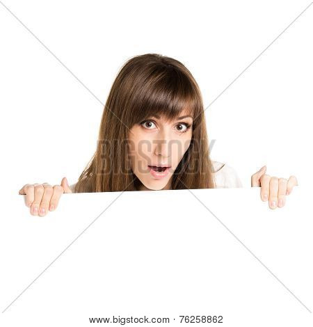Young Beautiful Amazed Woman Holding Blank White Card