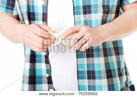 Close up on a man having smoking break.