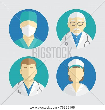 illustration of flat design. people icons. doctor and nurse
