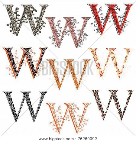 Various Combination Fishnet Letter W.