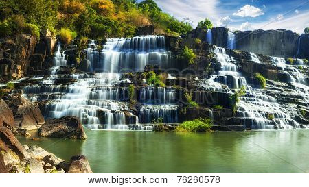 Tropical Rainforest Landscape With Flowing Pongour Waterfall In Vietnam. Four Images Panorama