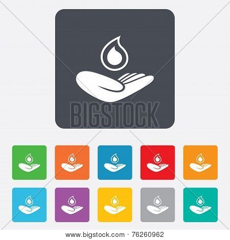 Save water sign. Hand holds water drop symbol
