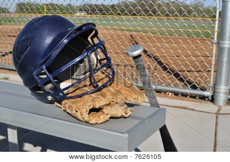 Baseball Helmet, Bat, And Glove
