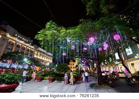 Scene Of Night Life At Ho Chi Minh City (saigon). Vietnam