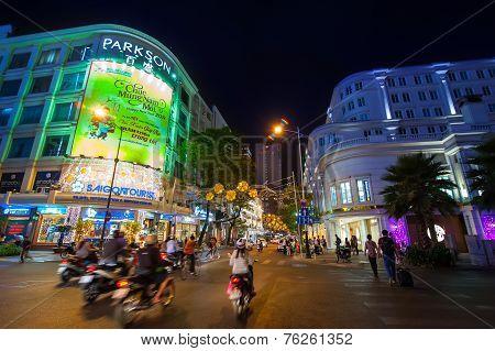 Scene Of Night Life At Ho Chi Minh City (saigon), Vietnam