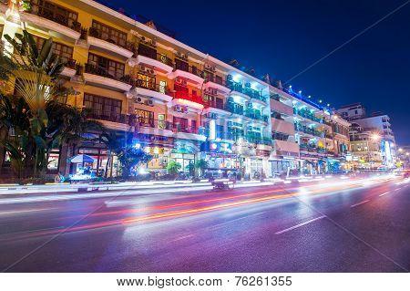 Scene Of Night Life In Phnom Penh, Cambodia